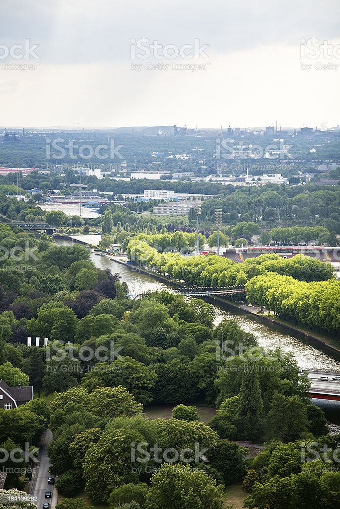 Oberhausen panorama with Rhein Herne canal royalty-free stock photo
