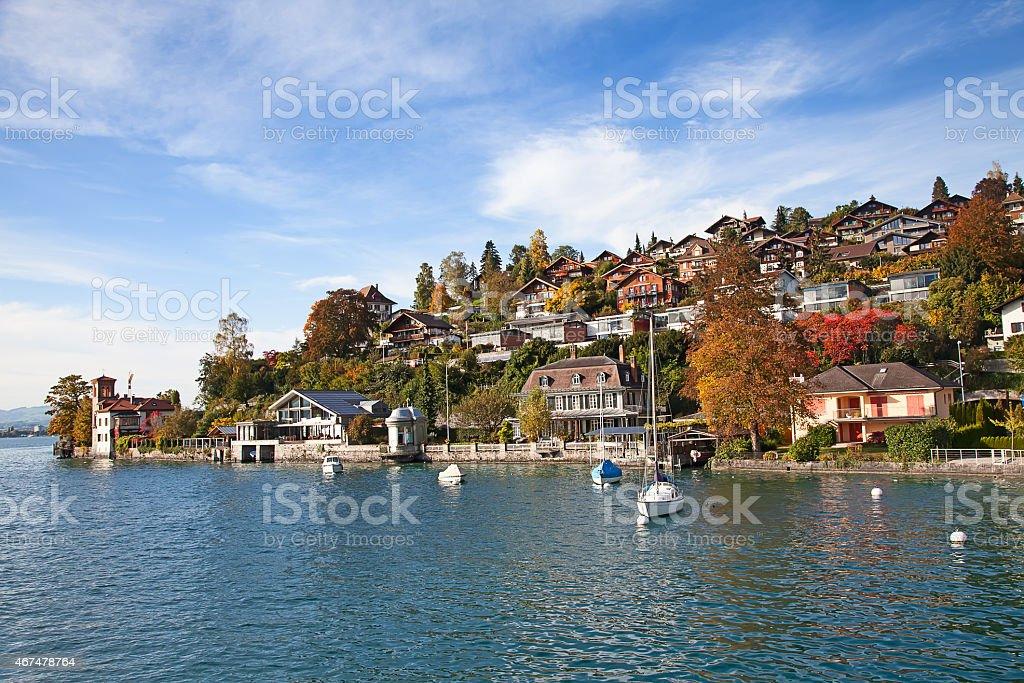 Oberhofen village stock photo