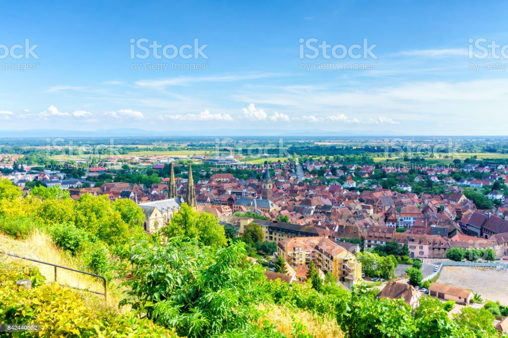 Obernai aerial view on summer sunshine, Alsace, France stock photo