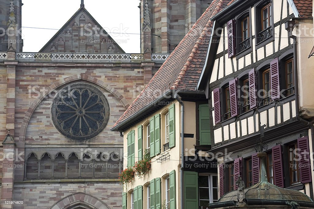 Obernai (Alsace, France) - Houses and church stock photo