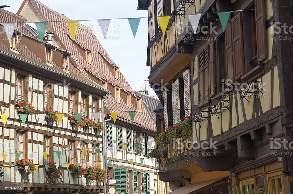 Obernai (Alsace, France) - Houses stock photo