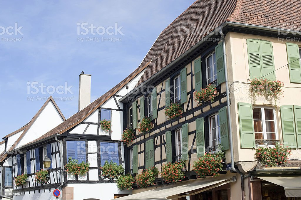 Obernai (Alsace, France) - Old half-timbered houses stock photo