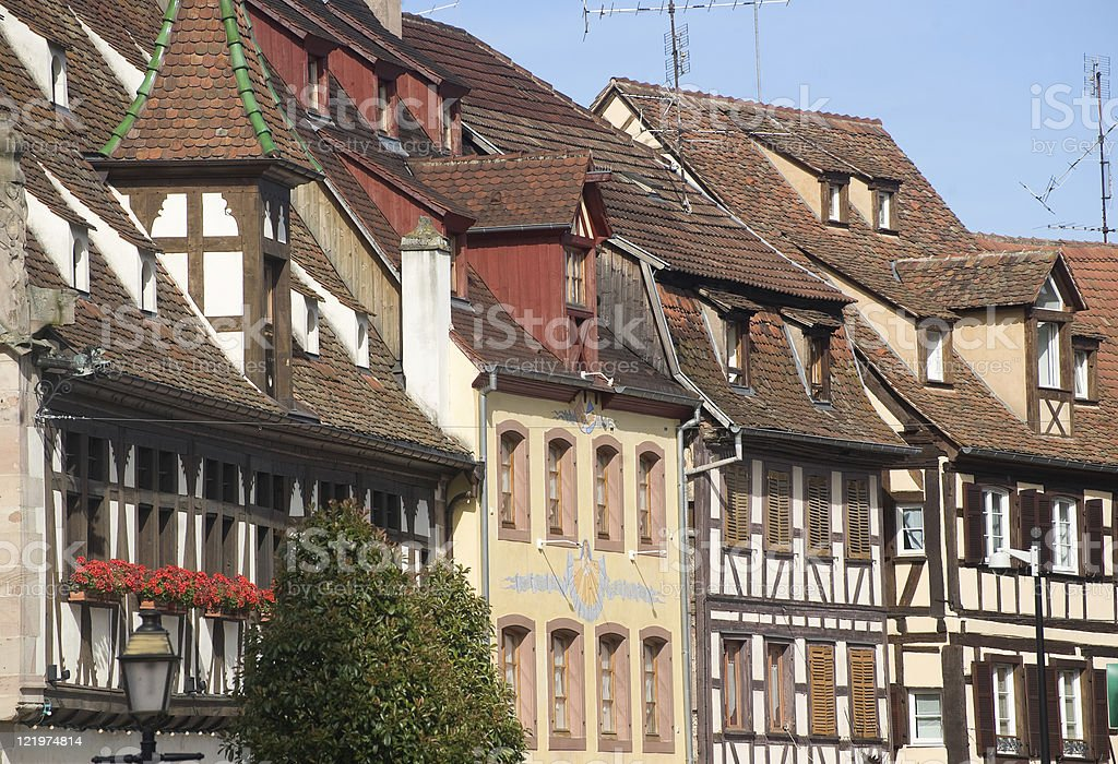 Obernai (Alsace, France), old half-timbered houses stock photo