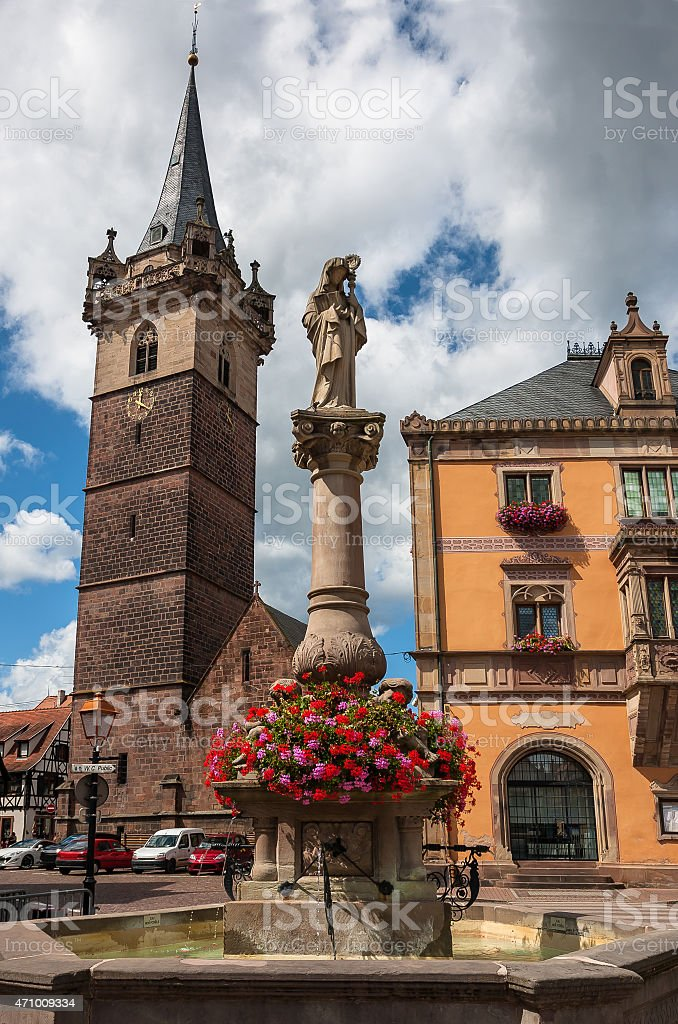 Obernai town center, Alsace wine route, France stock photo