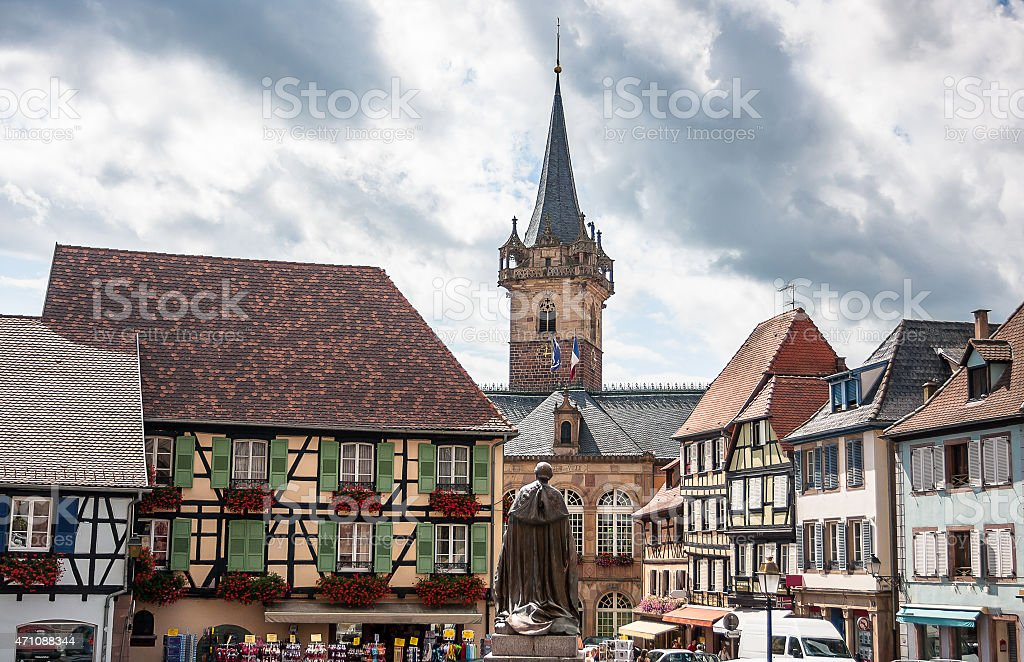 Obernai town centre, Alsace wine route, France stock photo