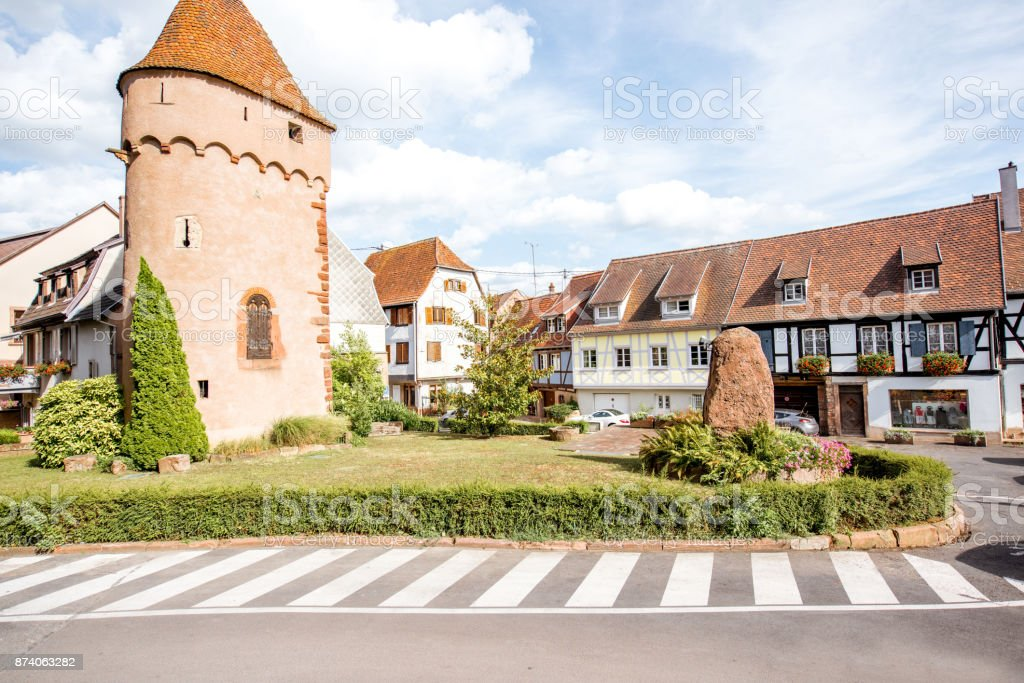 Obernai village in France stock photo