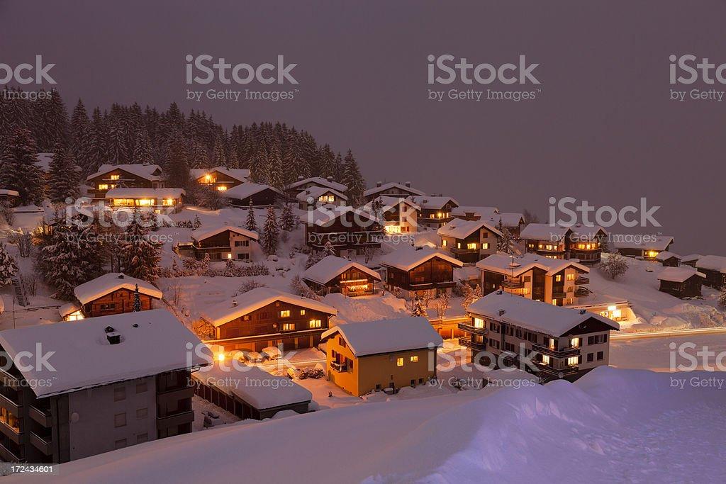 Obersaxen Affeier in a Winter Night stock photo
