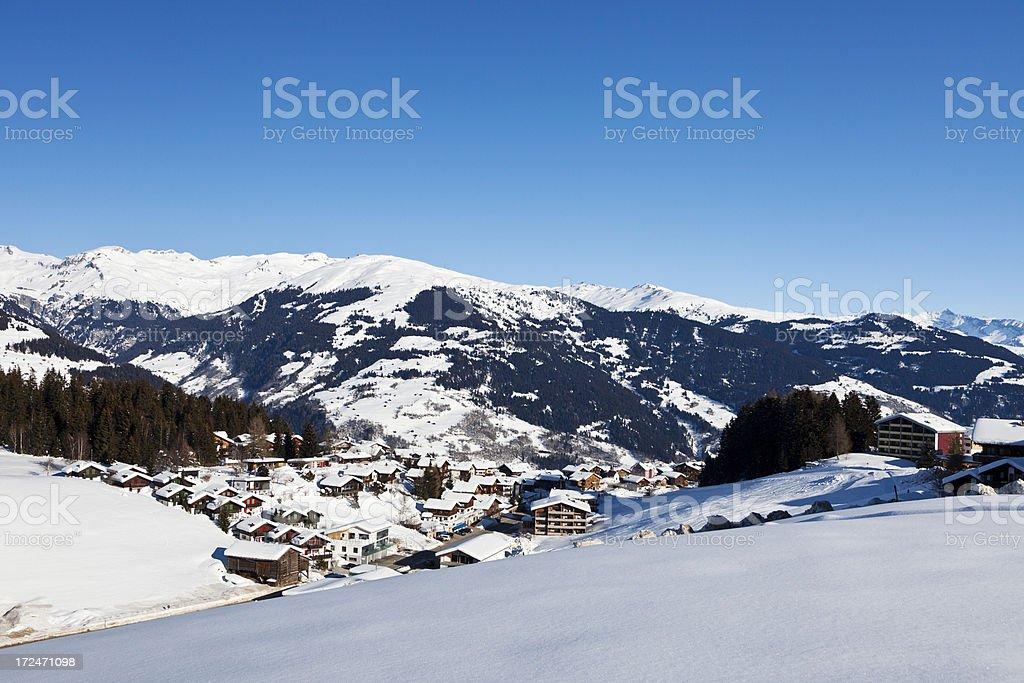 Obersaxen Affeier in Winter stock photo
