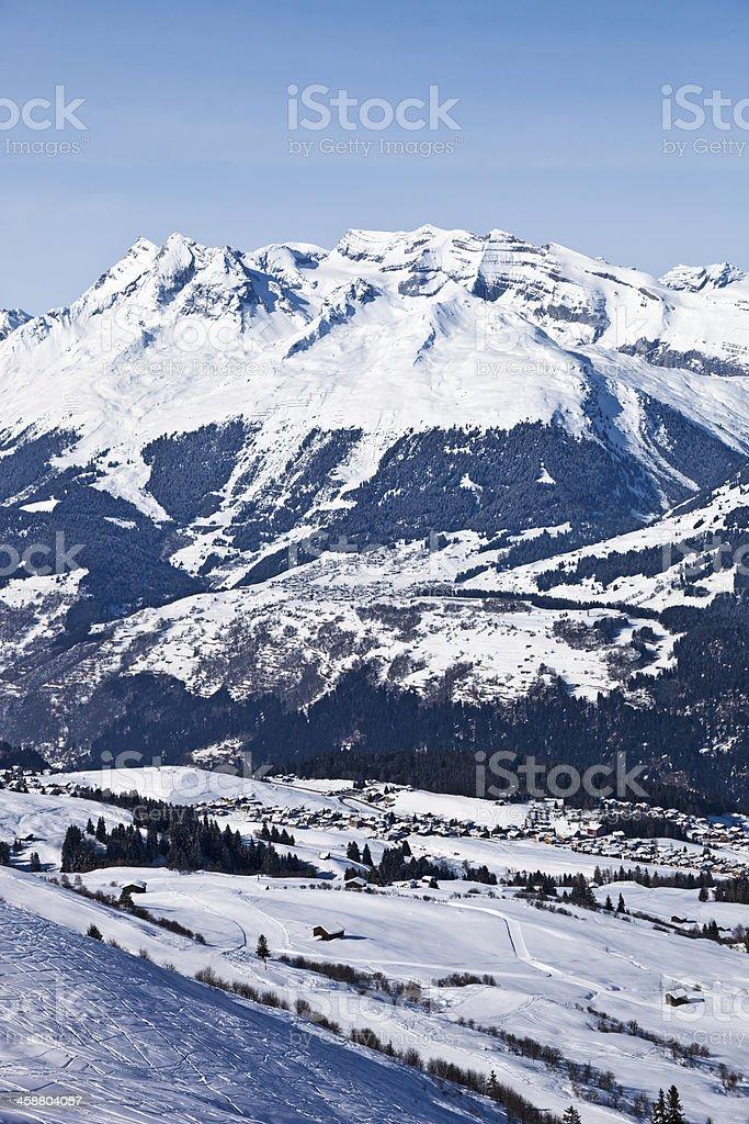 Obersaxen and Brigels Ski Resorts in Winter stock photo