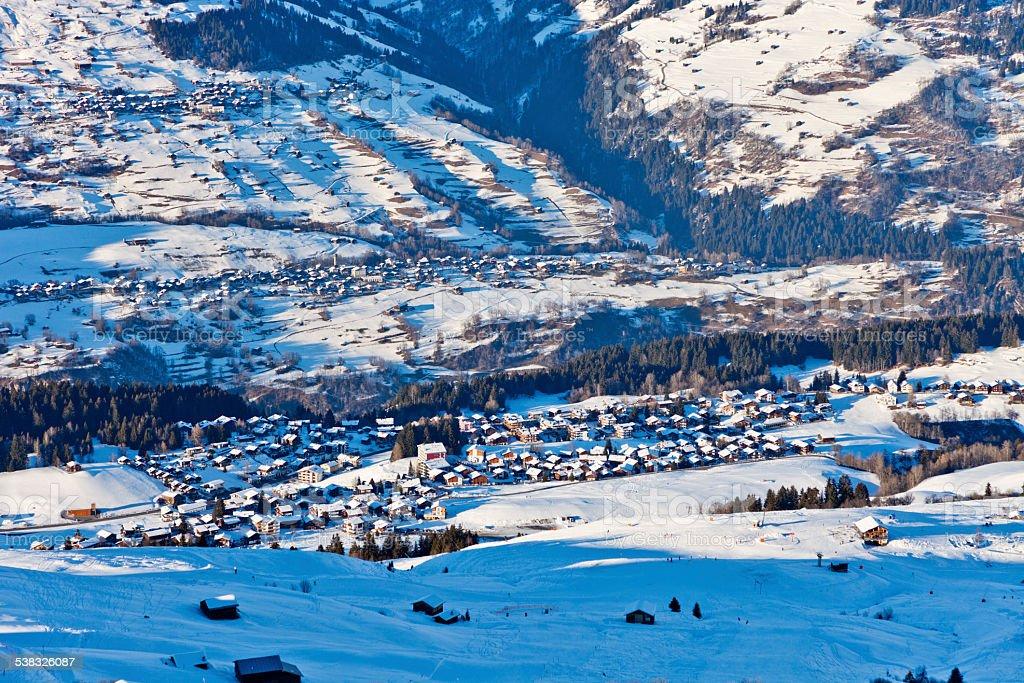 Obersaxen in Winter stock photo