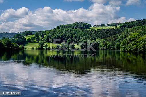 """Obersee (upper Rursee), a reservoir lake between the towns of Einruhr and Rurberg, Districts of Simmerath located in the """"cities region"""" Aachen, Germany"""