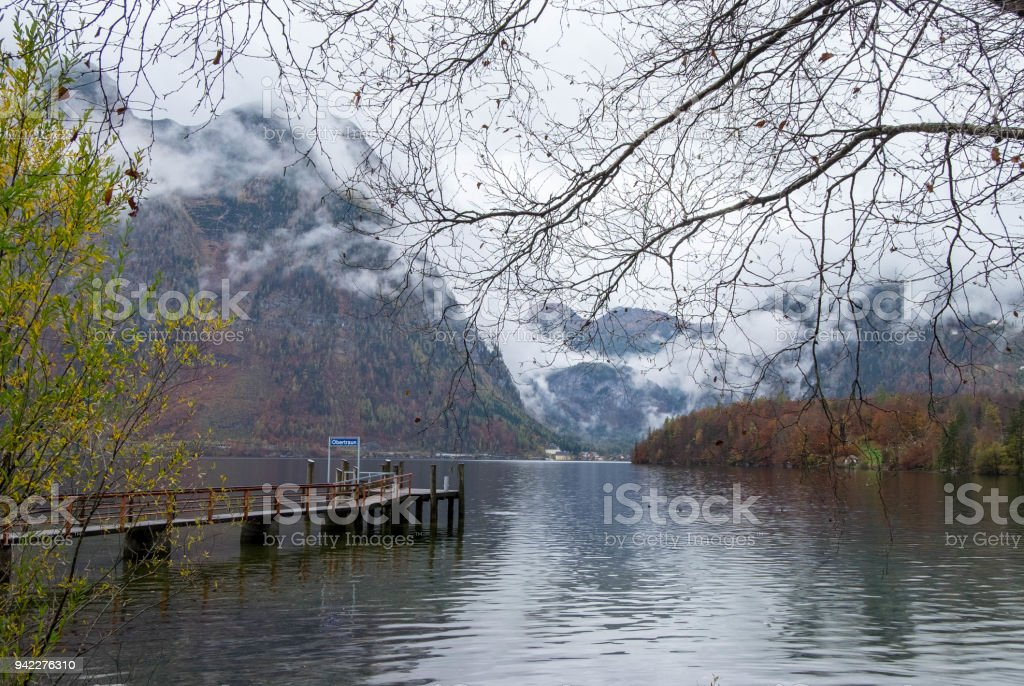 Obertraun port next to the town during autumn season, feeling cold and lonely. stock photo