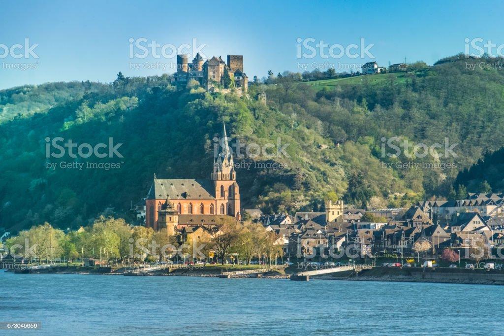 Oberwesel on the Middle Rhine in the Rhein-Hunsrück-Kreis (district) in Rhineland-Palatinate, Germany. stock photo