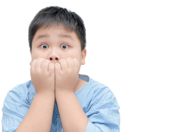 Obese Fat Asian Boy Portrait With Funny Shocked Face Expression Stock Photo
