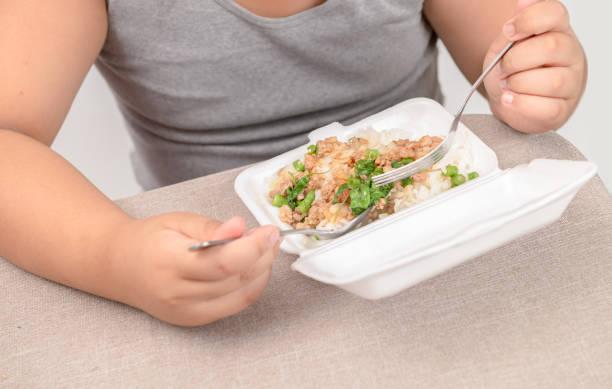 fettleibige dicke essen gebratenen reis in schaum-box - kinder verpackung stock-fotos und bilder