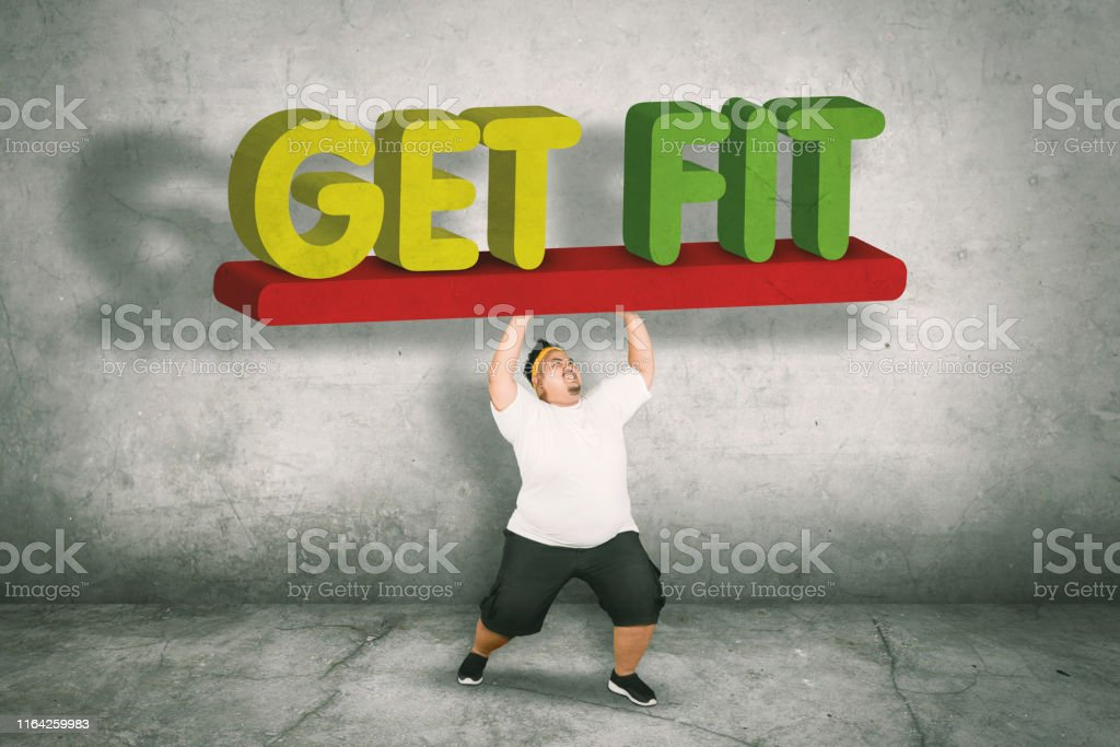 Picture of an obese man wearing sportswear while lifting text of get...