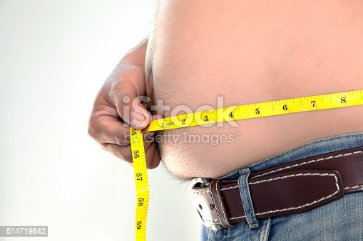 istock Obese person measuring his belly. 514719842