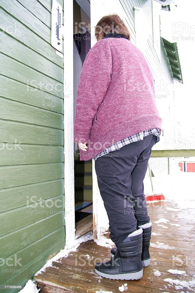 Obese shabby woman royalty-free stock photo