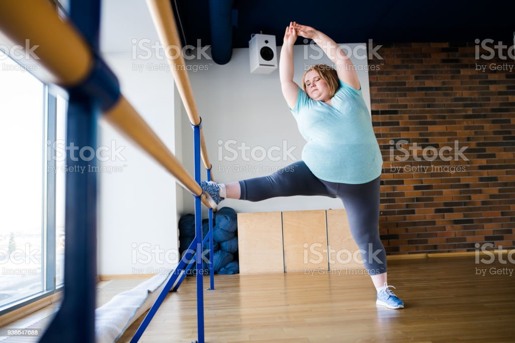 Obese Woman in Ballet Class stock photo