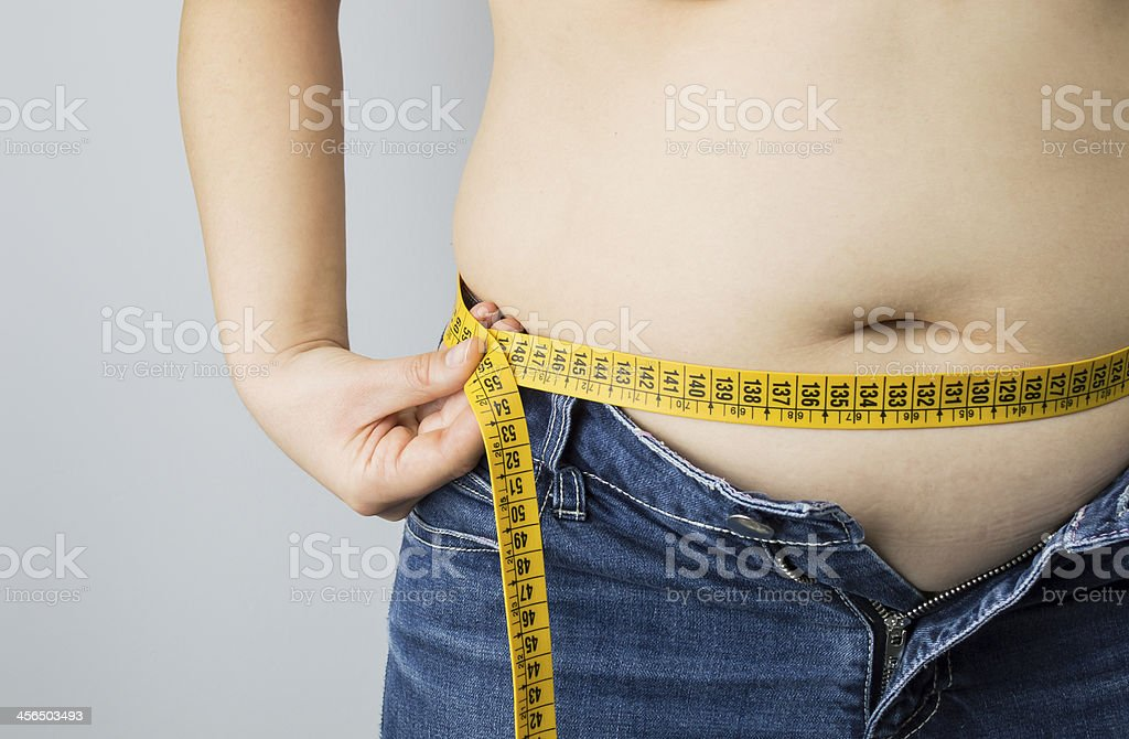 obese woman measuring her waist stock photo