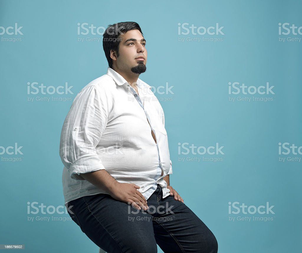 Obese young man stock photo