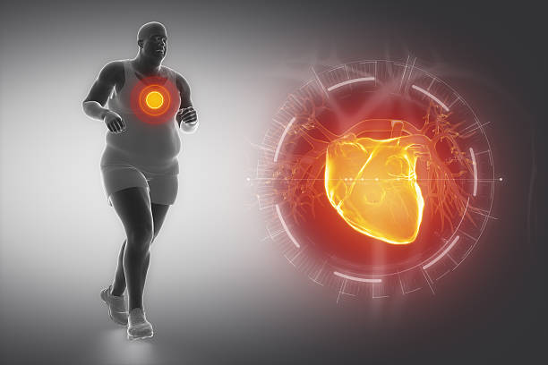 obesity and sport and heart - janulla stock pictures, royalty-free photos & images