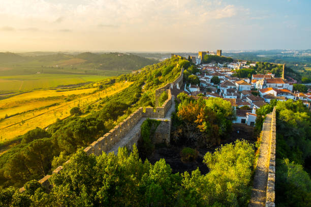 Obidos Medieval Town in Portugal at Sunset stock photo