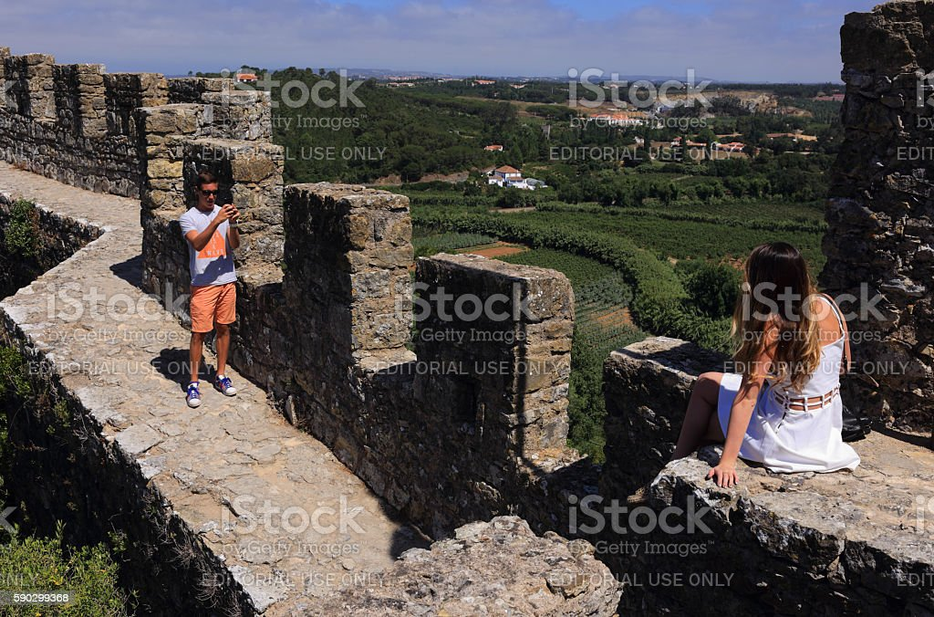 Obidos, Portugal. Medieval town and castle. Стоковые фото Стоковая фотография