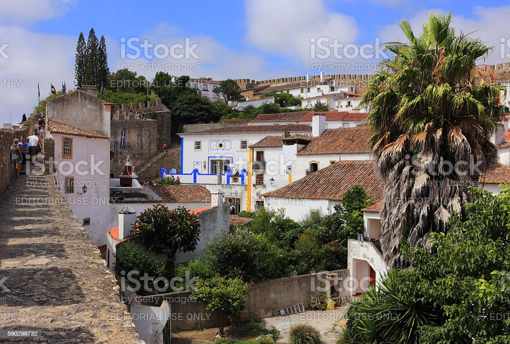 Obidos, Portugal. Picturesque medieval town's historical centre. royaltyfri bildbanksbilder