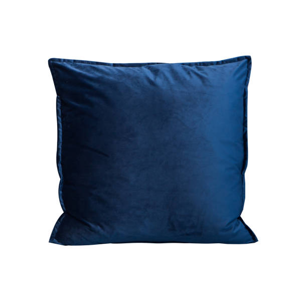 object isolated cushion cobalt blue color fabric cushion on white background cushion stock pictures, royalty-free photos & images