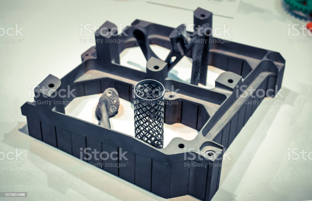 Object printed on metal 3d printer isolated on white background stock photo