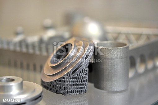 istock Object printed on metal 3d printer 897853126