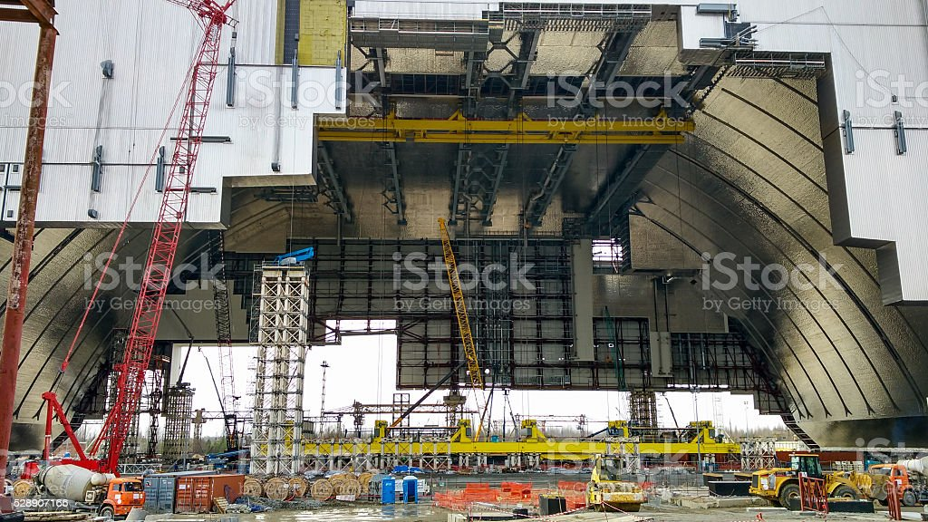 object shelter at the Chernobyl nuclear power station stock photo