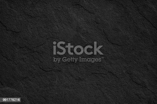 636075756 istock photo Object Stone Material Rock - Tiled Floor Black Stone Dark gray texture background 991776216