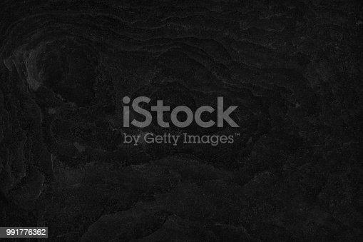 istock Object Stone Material Rock - Tiled Floor Black Stone Dark gray texture background 991776362