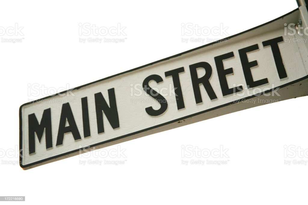 Object White Background Main Street Sign stock photo
