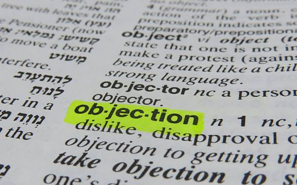 objection- dictionary definition stock photo