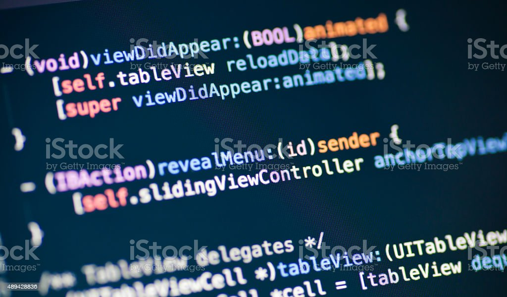 Objective C code lines Computer code lines on a display Open Stock Photo