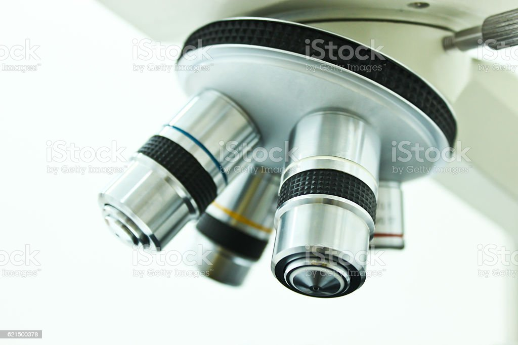 Objective Lens of Microscope Isolated on the White Background foto stock royalty-free
