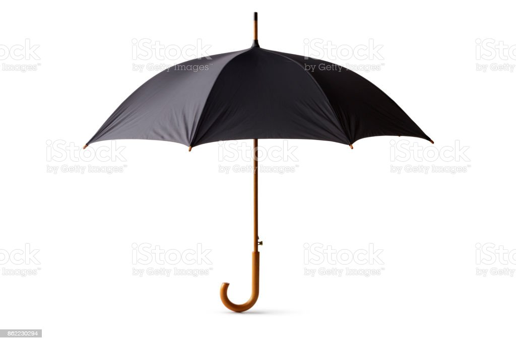 Objects: Black Umbrella Isolated on White Background stock photo