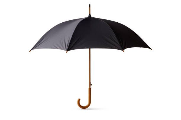 objects: black umbrella isolated on white background - umbrellas stock photos and pictures