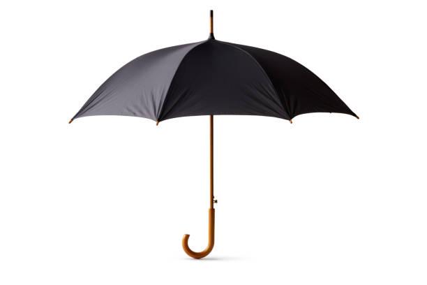 objects: black umbrella isolated on white background - chapéu imagens e fotografias de stock