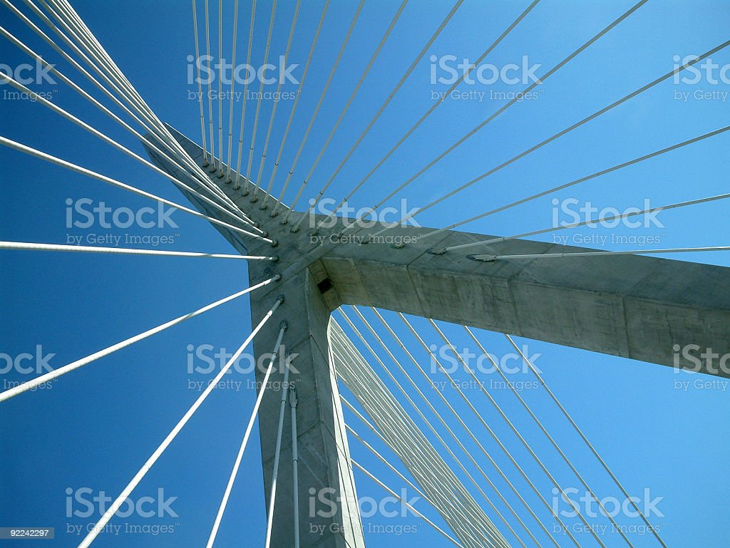 Objects - Cables and supports against blue sky stock photo
