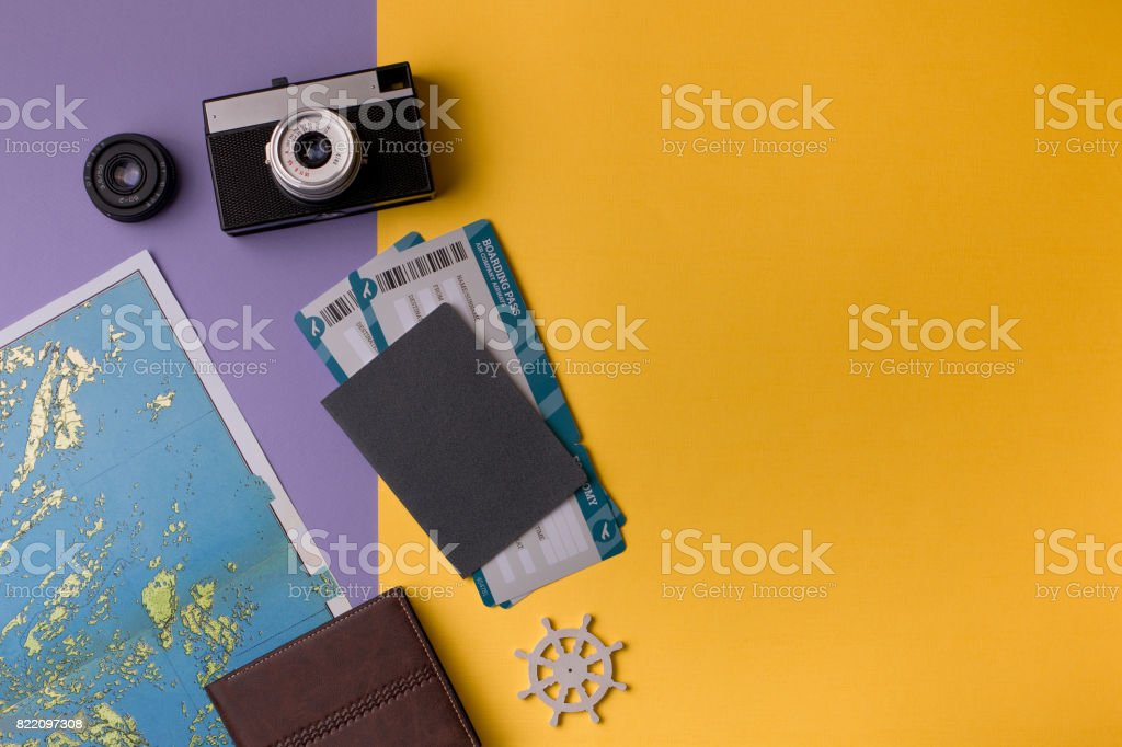 Objects for travelling on vivid background stock photo
