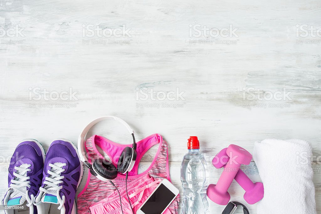 Objects for workout on floor stock photo