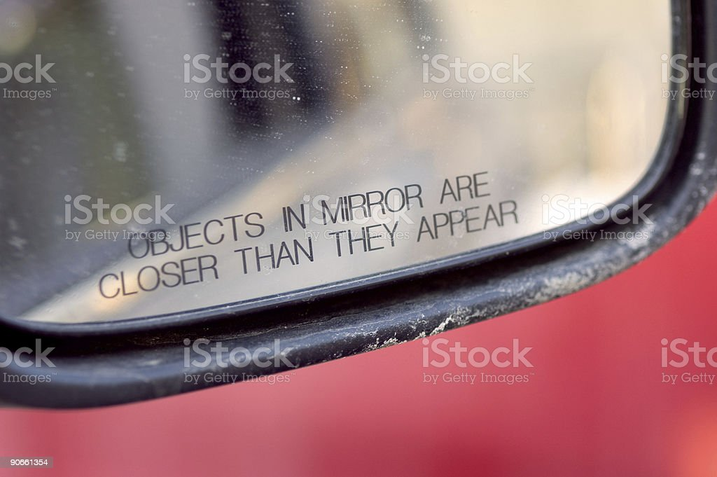 Objects in mirror... stock photo