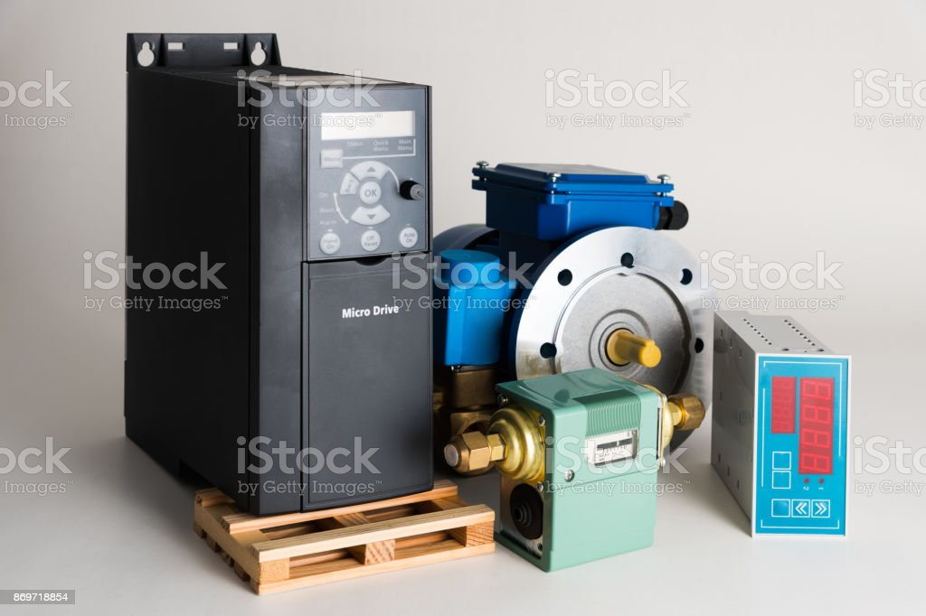 Objects of industrial automation on a white background stock photo