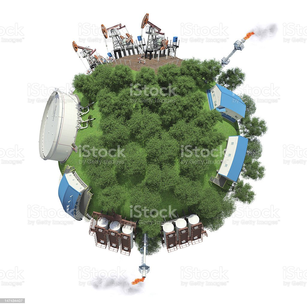 Objects of oil production and processing on small planet royalty-free stock photo