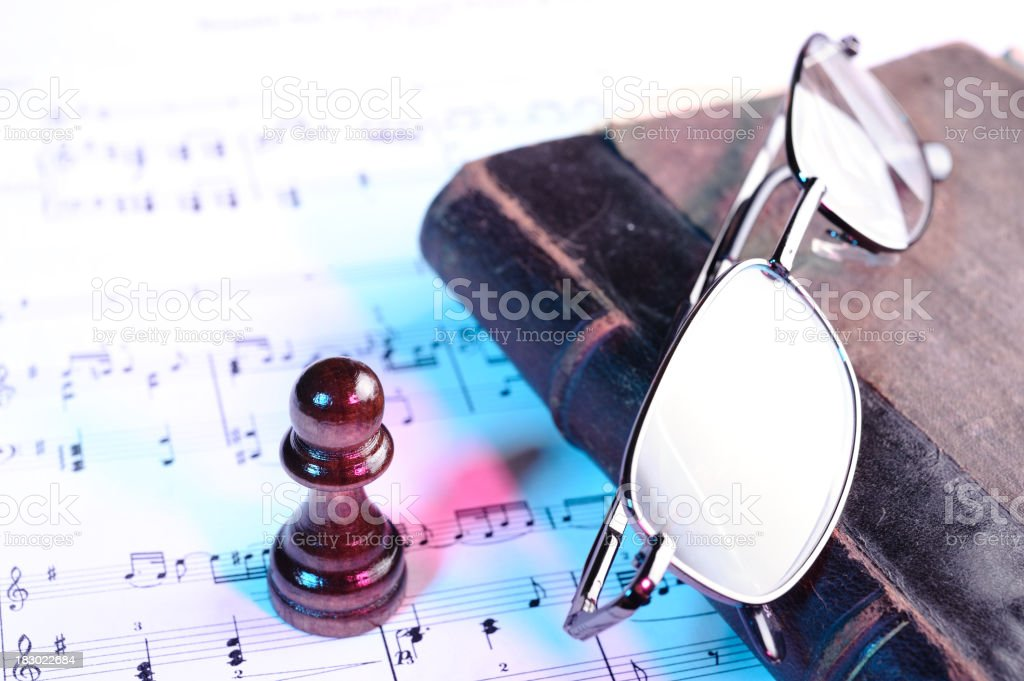 Objects on sheet music royalty-free stock photo