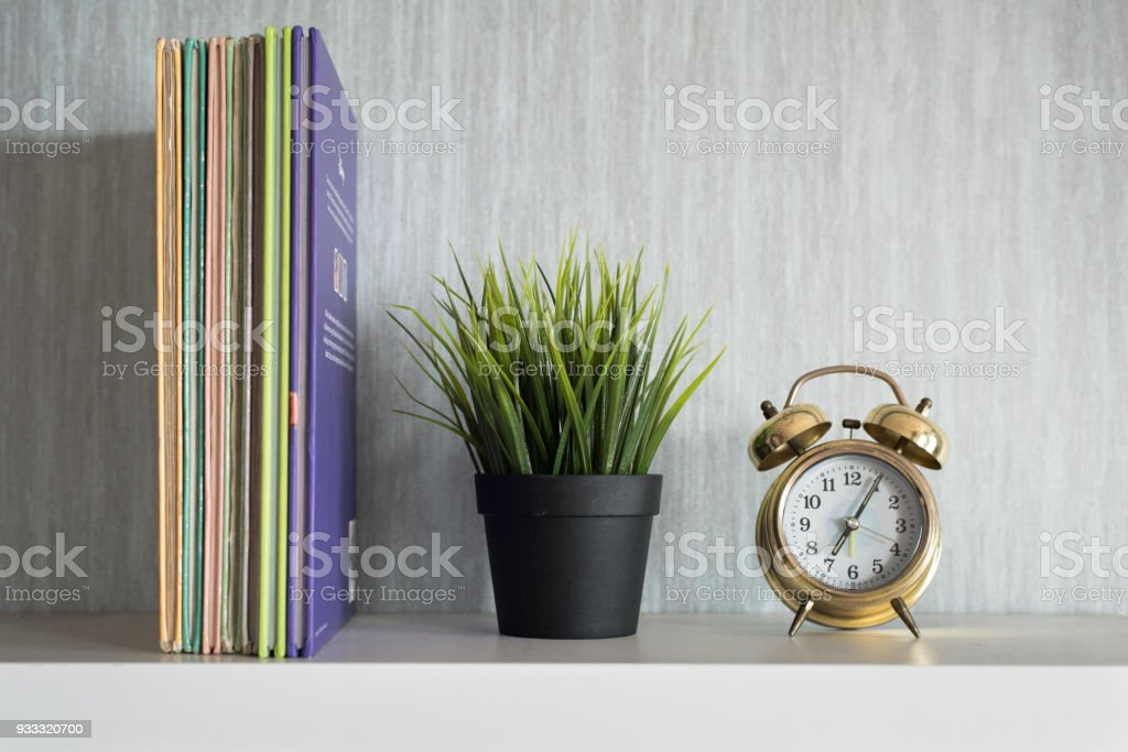 objects on shelf stock photo